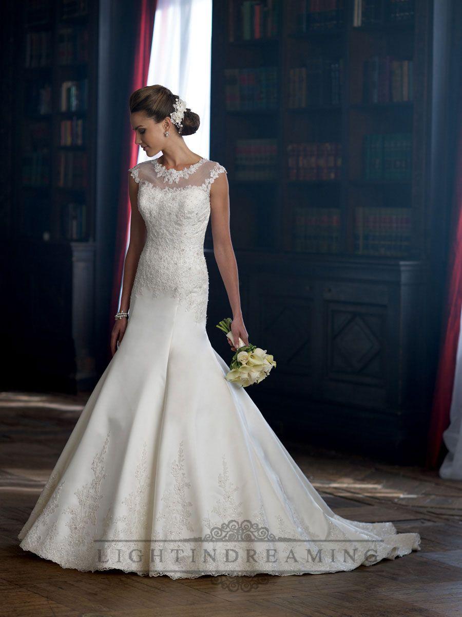 Cap sleeves illusion neckline aline wedding dress wedding