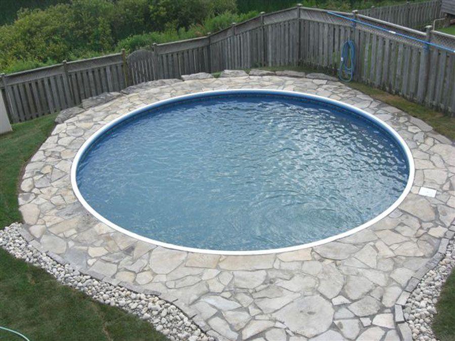 Unique Semi Inground Pools And Their Installation: Unique Round Semi  Inground Pool Small Grovel Wood