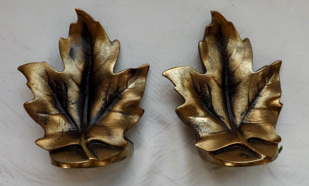 Maple Leaf Brass Heavy Bookends