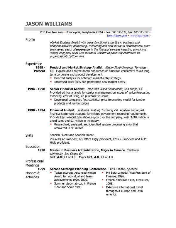 profile example for resume