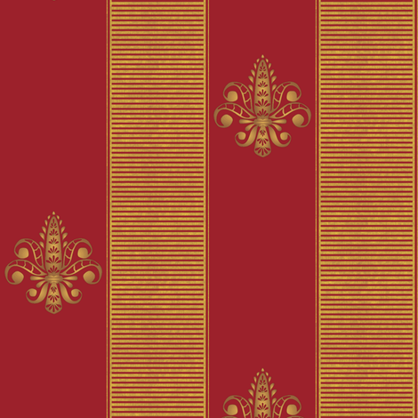 gold_and_red_fleur_de_lis_2_inch_stripe fabric by