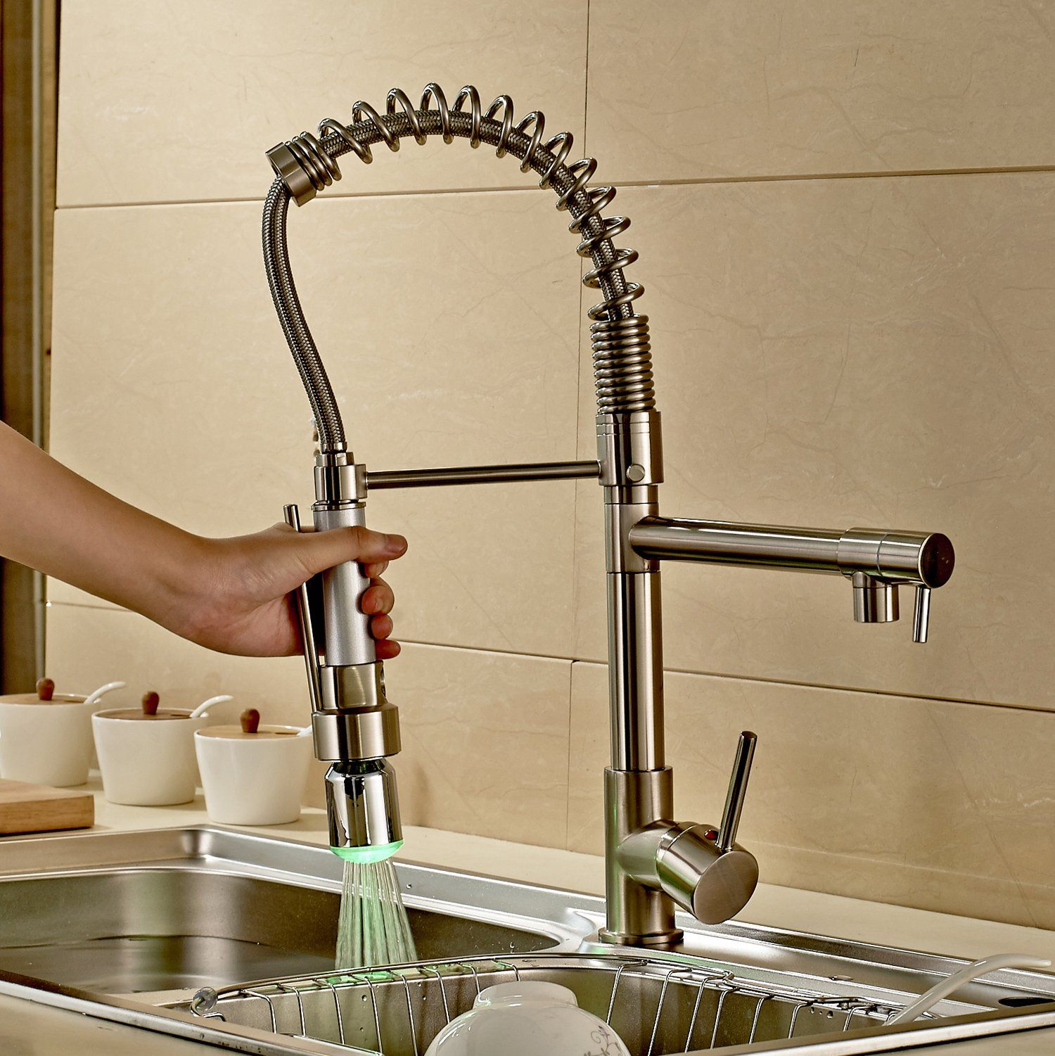 Rozinsanitary Contemporary Single Handle Two Spouts Kitchen Sink