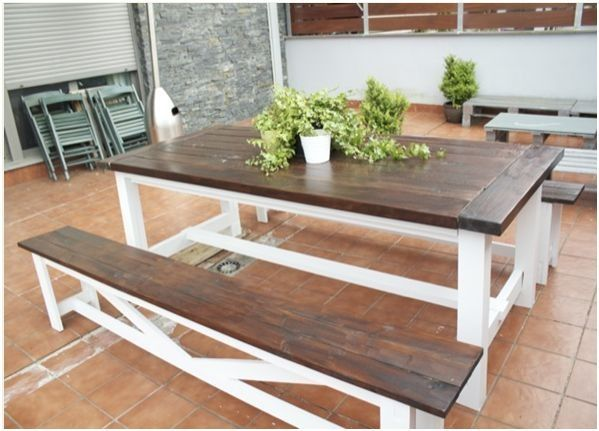 I Would LOVE To Talk Keith Into Building This Either For The Dining Room Or Backyard Patio Based On Ana White Farmhouse Table And Rustic Benches