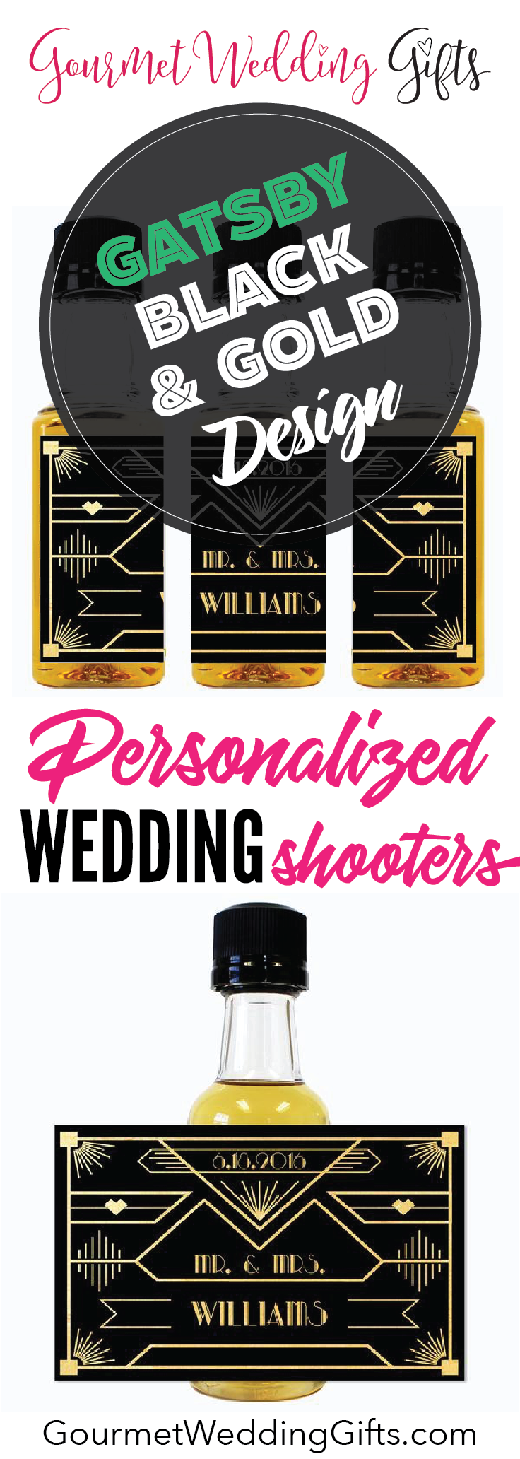 Wedding Mini Bottle Labels - Gatsby Black and Gold Design | Mini ...