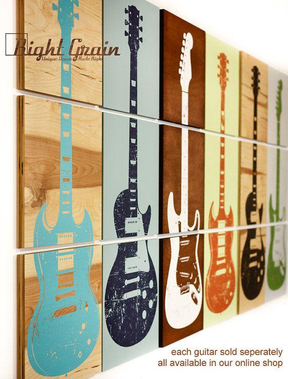 Custom Guitar Art Rock And Roll Artwork Original By RightGrain, $75.00
