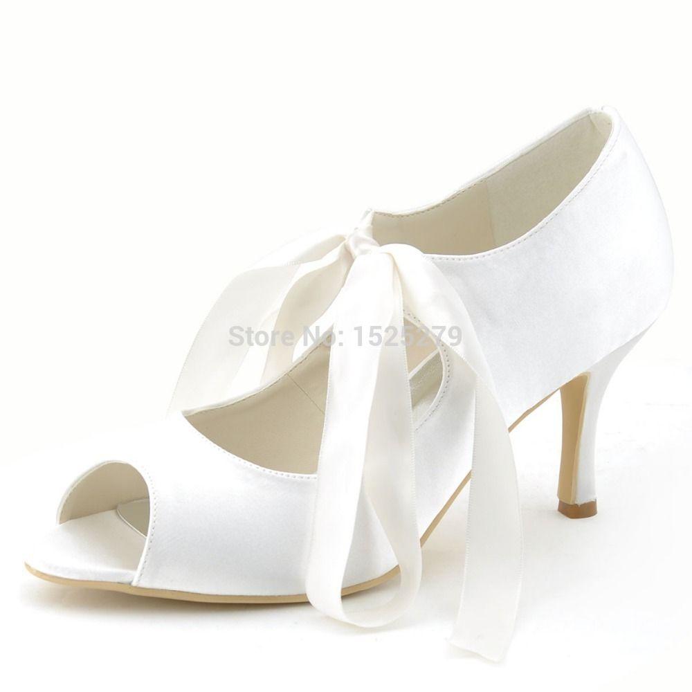 Ep2078 Elegant Ivory Women Mary Jane Bridal Party Pumps Ribbons