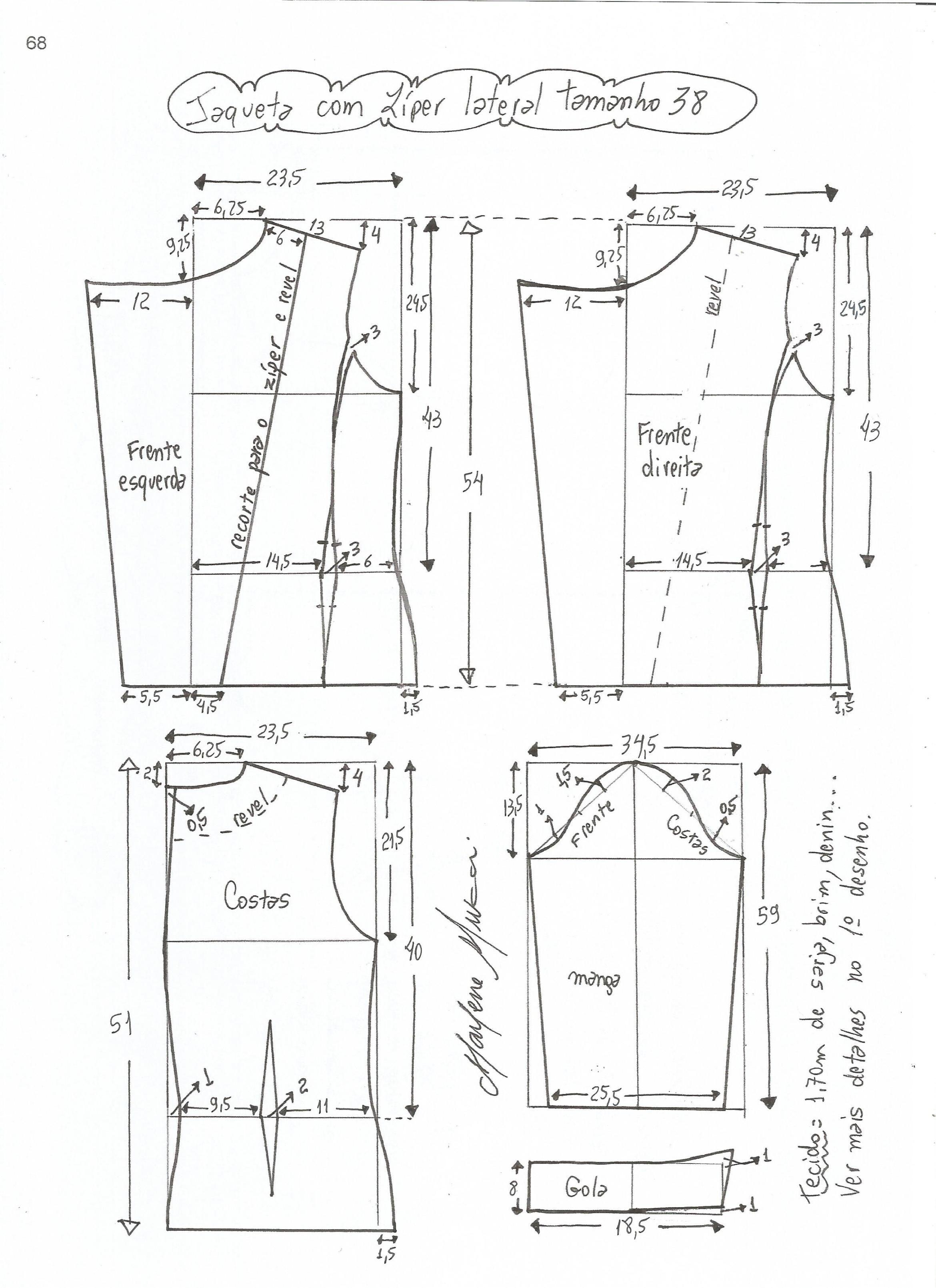 Jaqueta com zíper lateral e transpasse | Molde, Costura y Técnicas ...