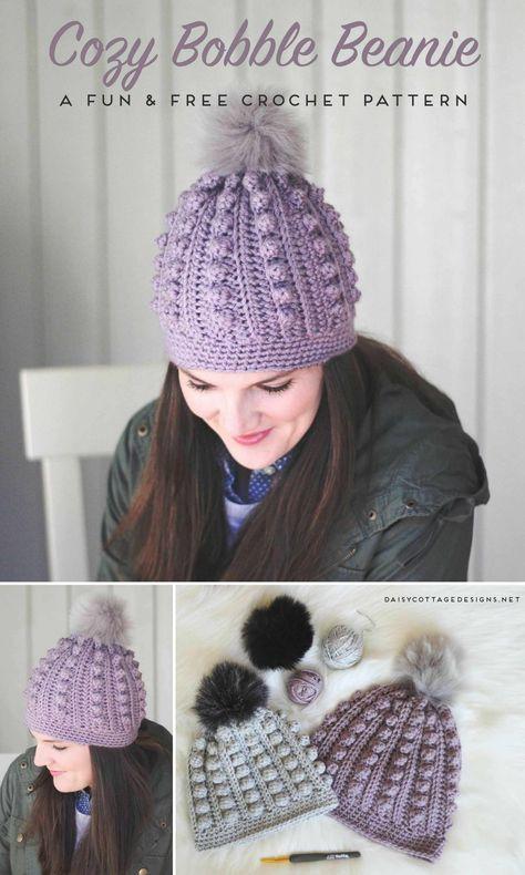 Bobble Beanie Crochet Pattern | Gorros de crochet y Gorros