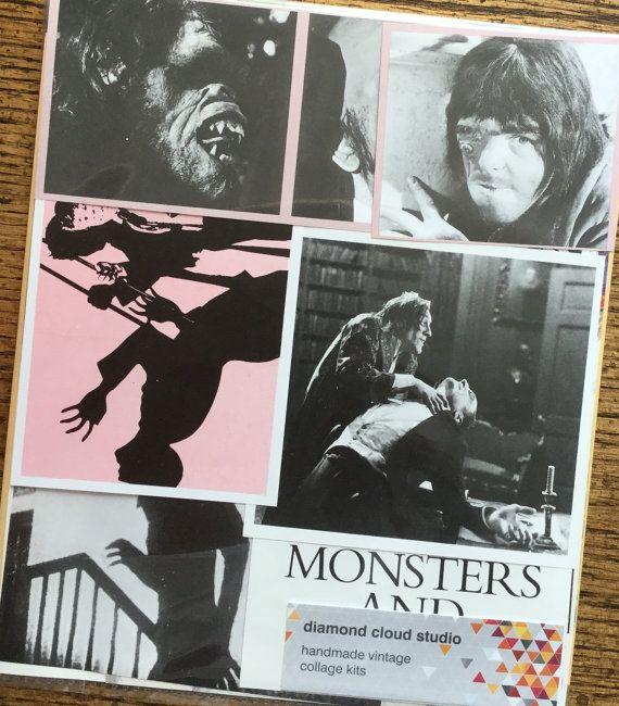 Evil Monsters Vintage Horror Movie Collage by diamondcloudstudio