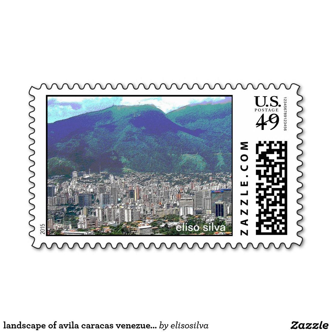 landscape of avila caracas venezuela (eliso) sello postal