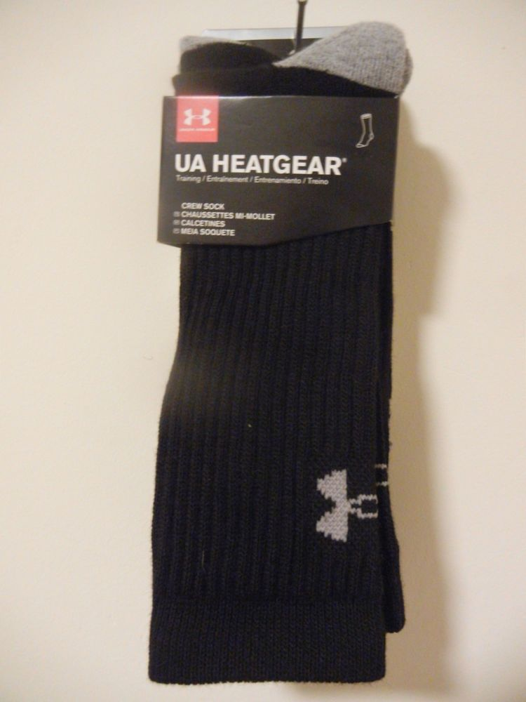 52f007012e962 Under Armour 3 Pair Unisex Training Black/Gray Socks Size MD Men 4-8 ...