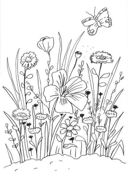 Coloriage Gratuit Fleurs Imprimer.Voici Un Beau Coloriage Gratuit De Fleurs Et Un Papillon