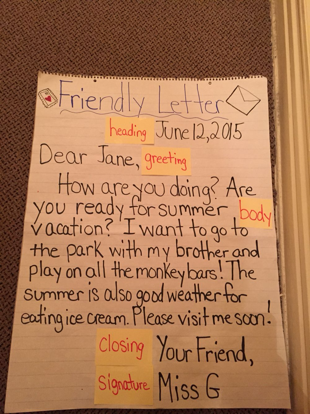 Friendly Letter Anchor Chart I Made For A 2nd Grade Class They Loved The Model And It Was A Great Addition To Te Friendly Letter Anchor Charts 2nd Grade Class [ 1334 x 1000 Pixel ]