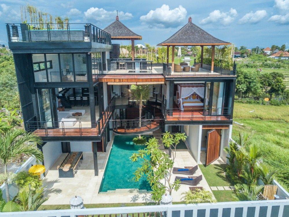Luxurious Modern Villa With Rice Paddies View For Sale In Umalas Kibarer Property Villa Modern Luxury