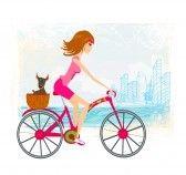 Beautiful_bike : woman riding a bike in the city Stock Photo
