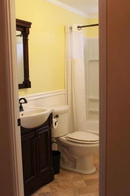 Yellow Bathroom Love The Sink We Have The Wood Slats In Our Bathroom As Well As Older Style