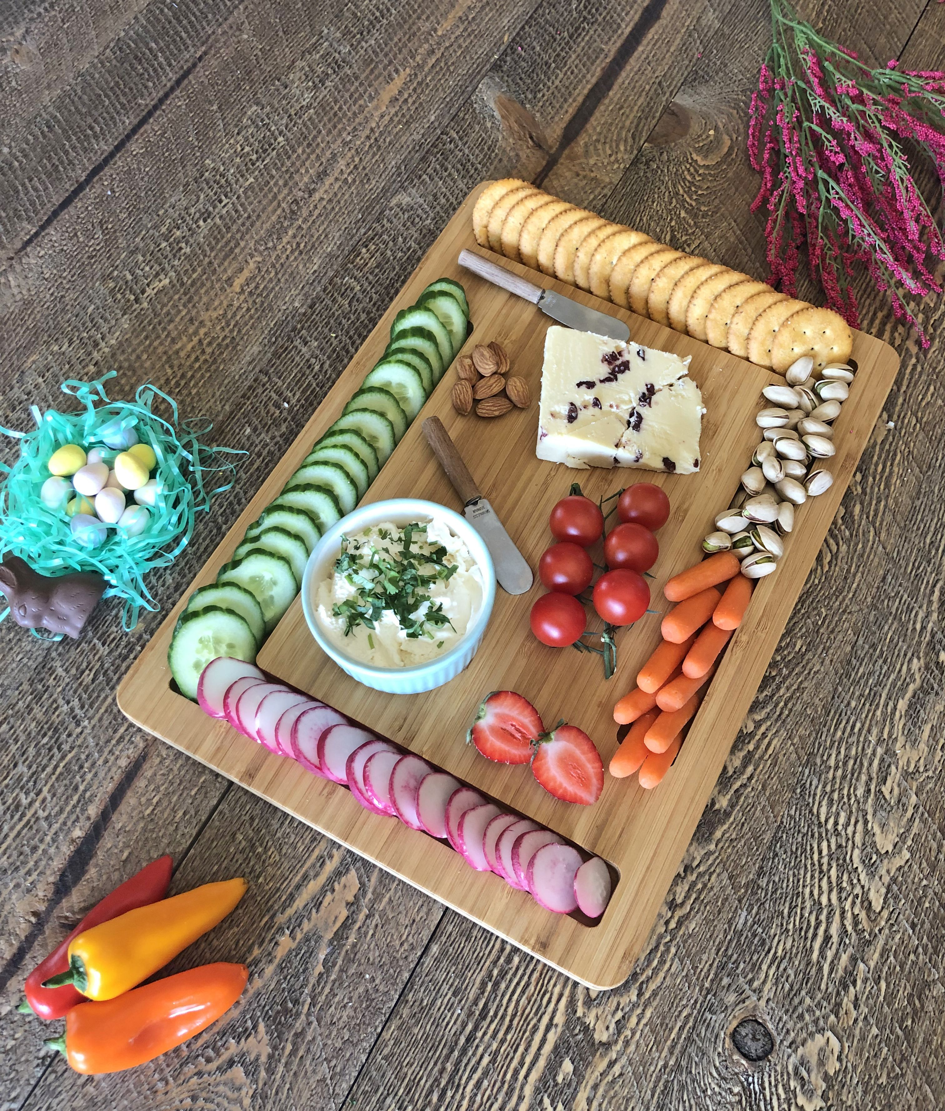 Cheese and crackers boardedge serving board etsy