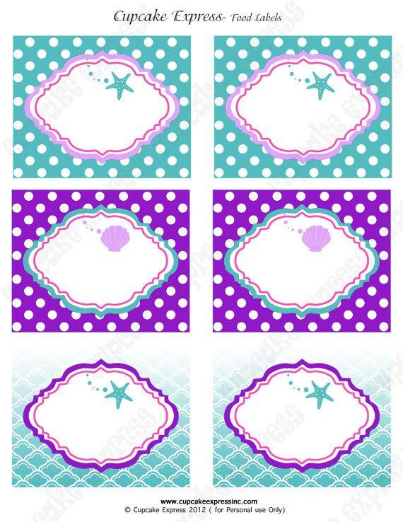 Ariel Inspired Little Mermaid Birthday Party PRINTABLE Food Labels