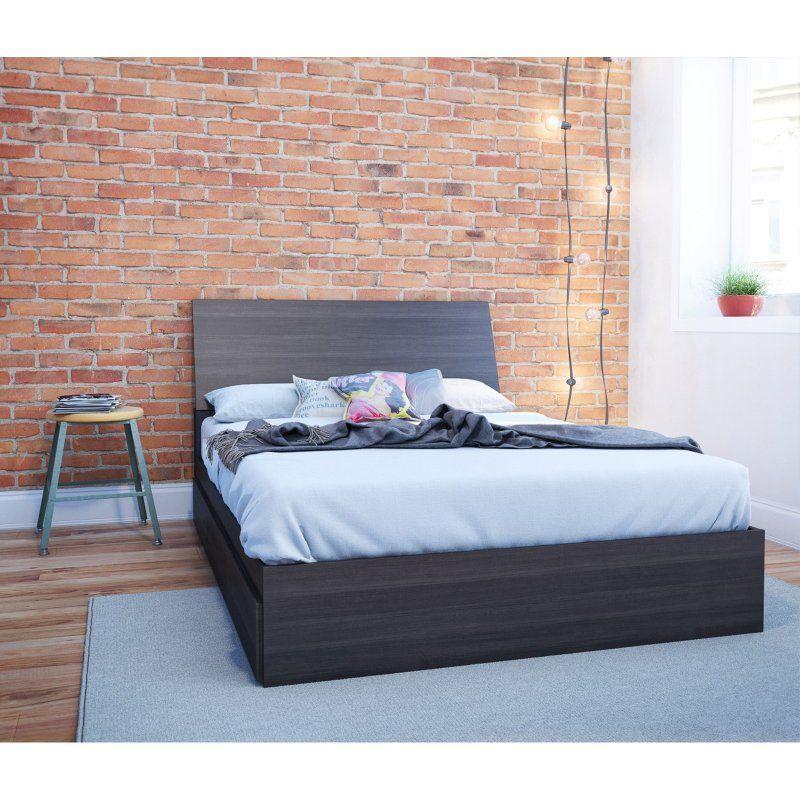Nexera Tribeca Storage Platform Bed Black bedding, Full