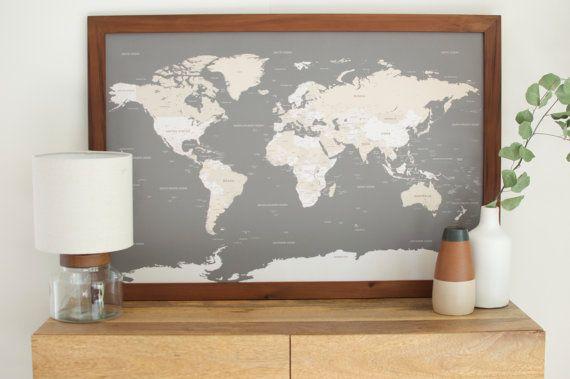 Framed World Map World Map, World Map Wall Art, Husband Gift, 1st Anniversary Gift  Framed World Map