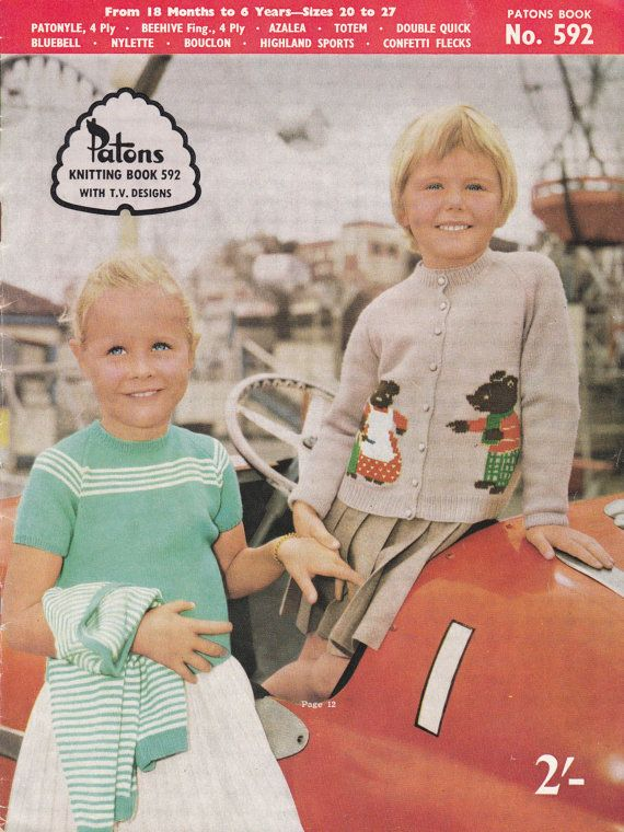 Childrens Picture Sweaters Patterns TWO 60s Vintage Knitting Patterns Booklets…