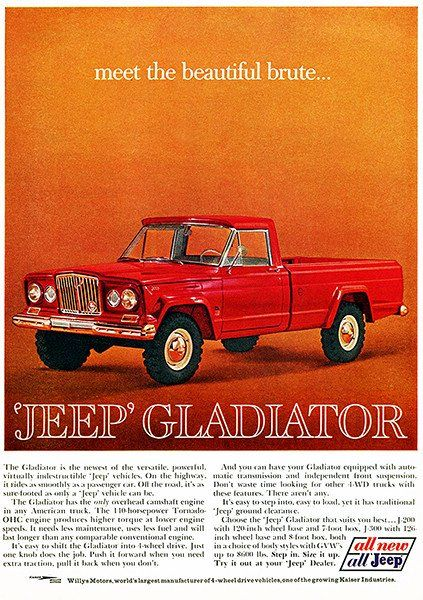 1963 Jeep Gladiator Promotional Advertising Poster Jeep Gladiator Classic Trucks Classic Chevy Trucks
