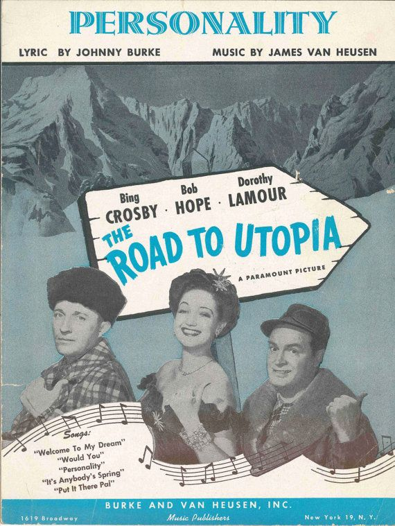 Vintage Sheet Music Personality Road to Utopia Bing