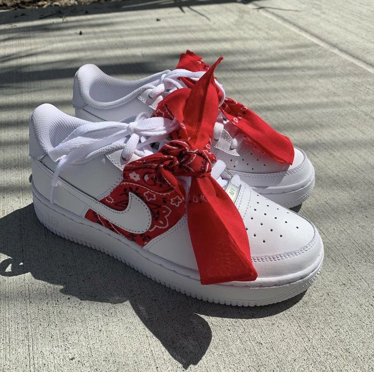 Red Bandana Air Force 1s Red bandana shoes, Custom nike