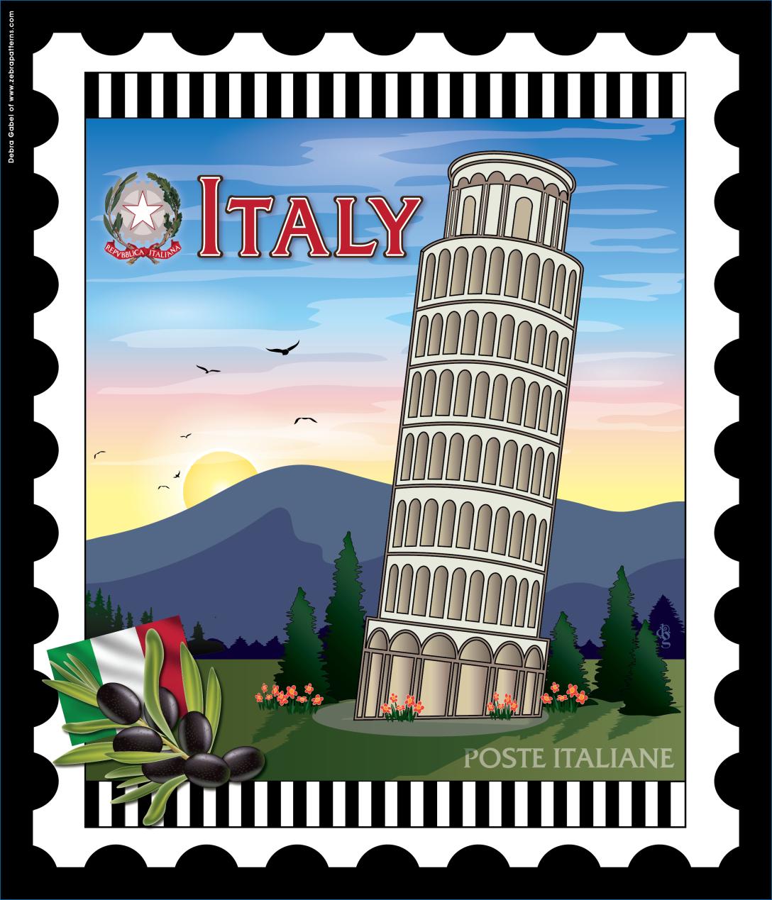 Italy Nationstamp Panel By Debra Gabel Of Www Zebrapatterns Com
