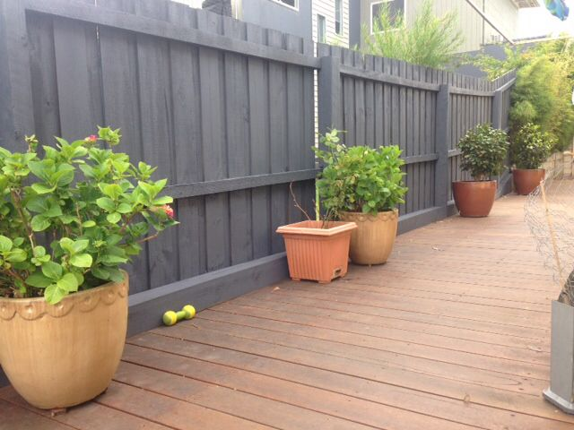 Good Painted Fence With Colourbond Ironstone Paint Colour. I Used A Spray Gun  Which Gave A