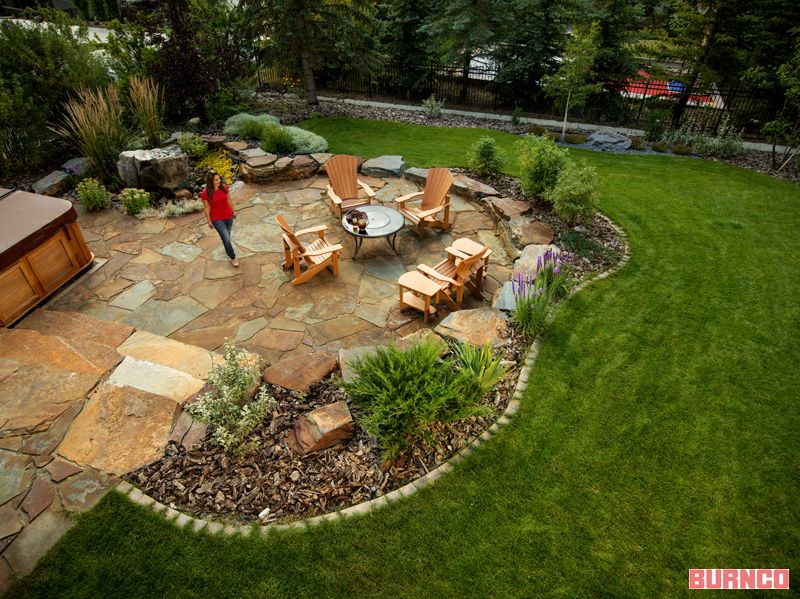 Backyard Natural stone patio #BURNCO #landscaping #flagstone ...