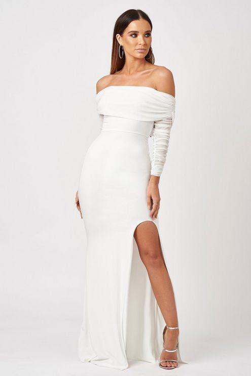 Ruched Mesh Bardot Maxi Dress By Club L Dresses White Maxi Dresses Crepe Wedding Dress