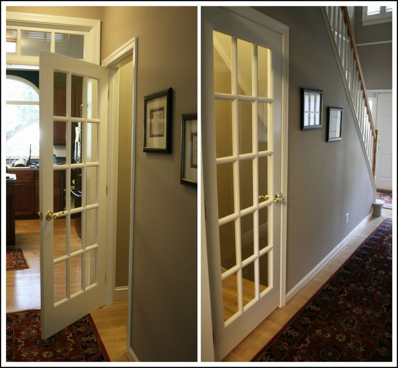 French Door To The Basement So Doing This So It Gives The Room Character And Makes It More Inviting Basement Remodeling Basement Doors Basement Remodel Diy