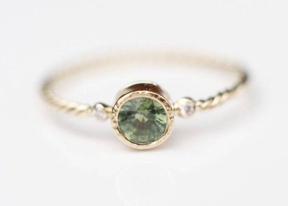 Green Sapphire And Diamond Ring Sapphire Engagement Ring 18k Gold
