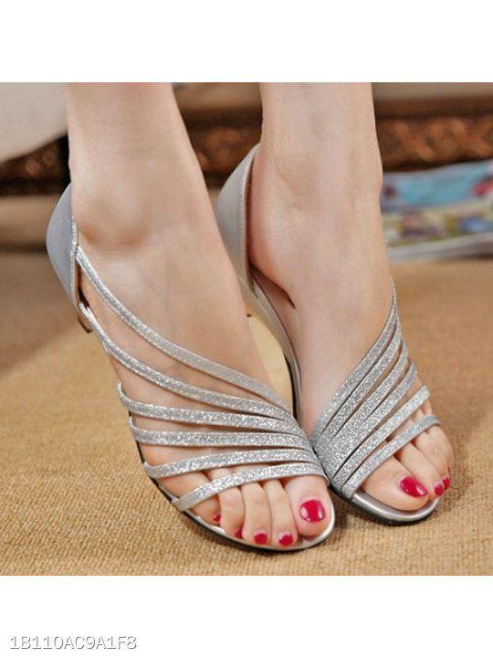 65d69d94d28 Plain Chunky Low Heeled Peep Toe Casual Date Sandals - berrylook.com ...