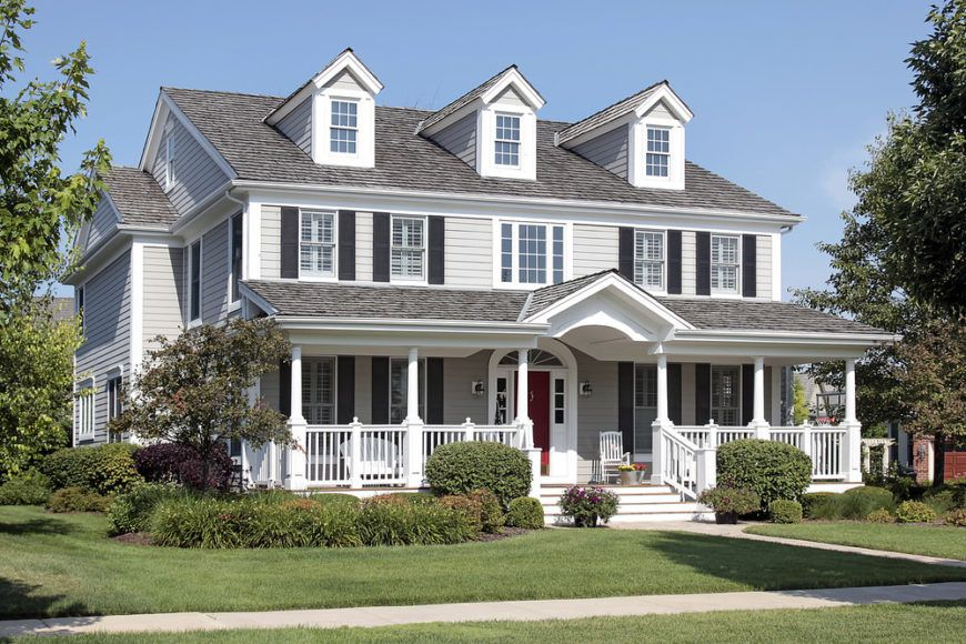 32 Gorgeous Houses With Exterior Window Shutters Gray House Exterior Suburban House House Exterior