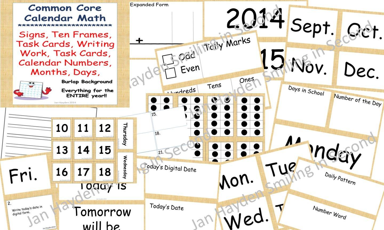 Calendar Math Huge Bundle Task Cards Activity Sheets