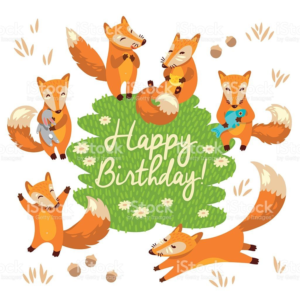 Happy Birthday Card With Littlr Foxes In Cartoon Style Vector