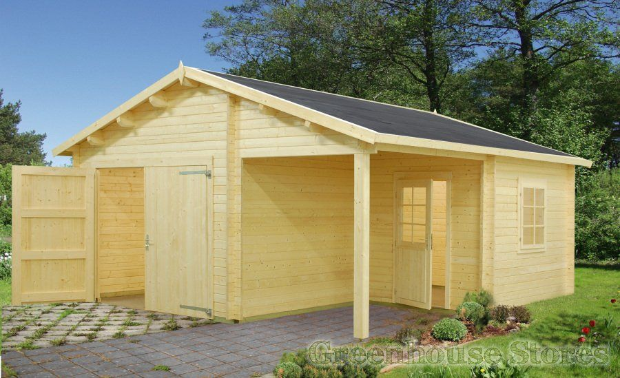 Palmako Wooden Garage 4 with Wooden Door from Greenhouse