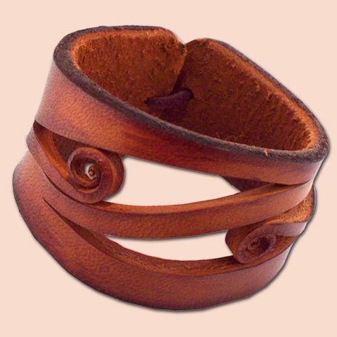 Hecho a mano de cuero pulsera 4037 marrón anaranjado por snis …