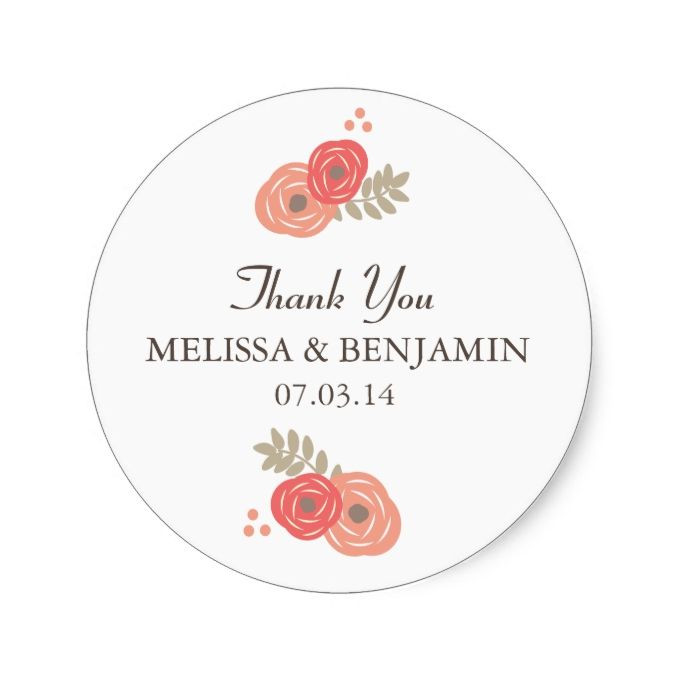 Sweet Floral Wedding Stickers - Red