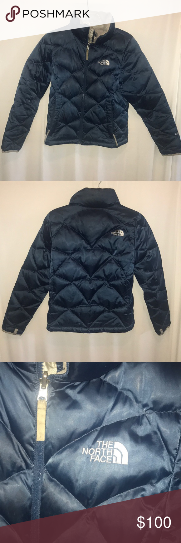 The North Face 550 Navy Jacket North Face 550 Color Navy Blue Gray Quilted Pattern Full Zipper Inside Pocket Navy Jacket North Face Jacket Women Shopping [ 1740 x 580 Pixel ]
