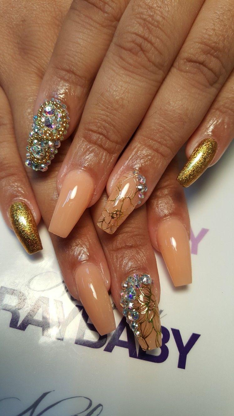 Pin by Nailsbyraybaby on NailsByRayBaby 2017 Gold nails