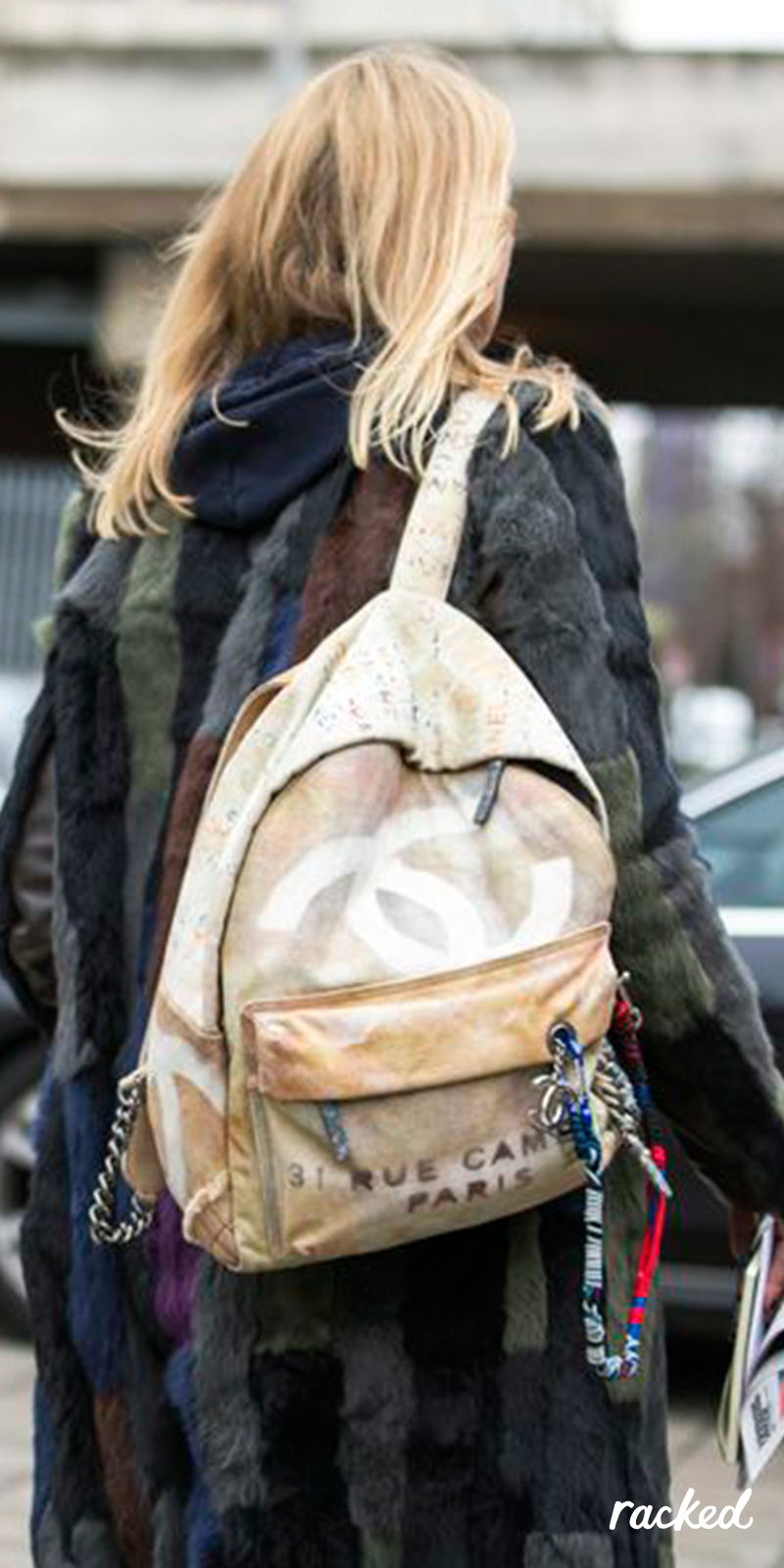 A Chanel Backpack, as Seen at London Fashion Week // More Winter Style Ideas from the Best LFW Fall 2016 Street Style: (http://www.racked.com/2016/2/23/11096906/street-style-london-fashion-week-fall-2016)