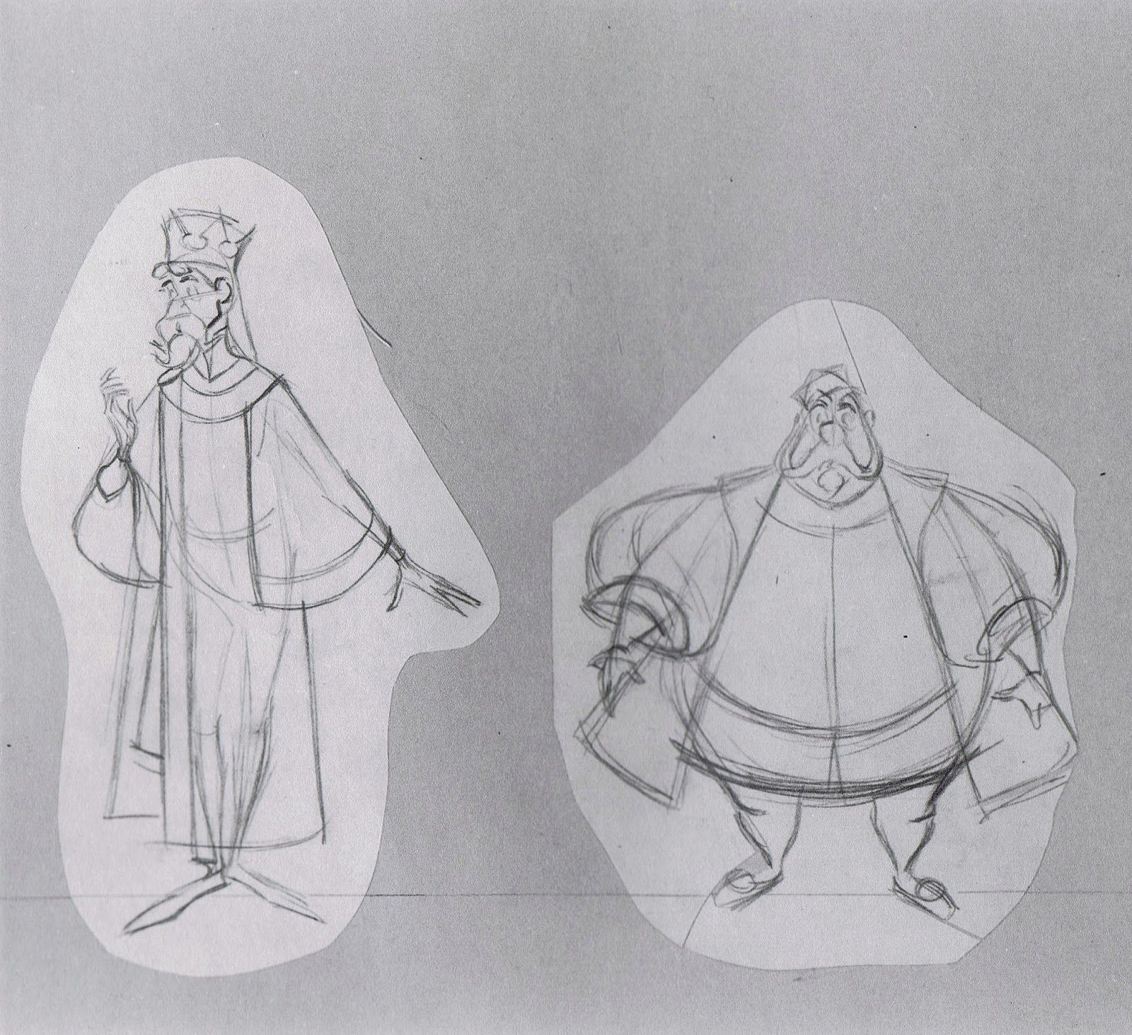 King Stefan and King Hubert comparison sketches by Milt Kahl