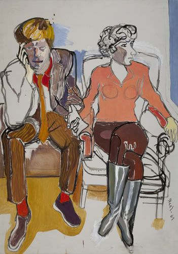 Red Grooms and Mimi Gross (no. 1), oil on canvas, 60 x 42 in., 1967, by Alice Neel