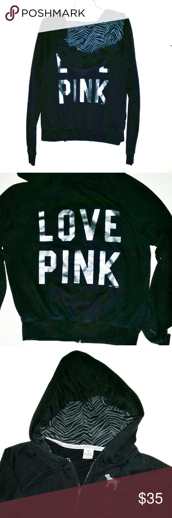 LOVE PINK Hoodie | Black love, Coats and Jackets