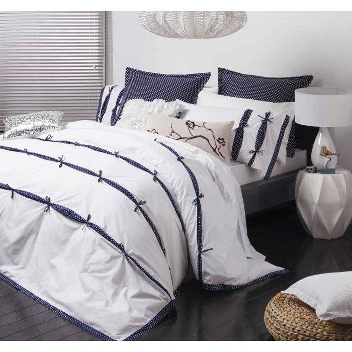 Anji Navy Quilt Cover Set By Logan Mason Platinum Quilt Cover