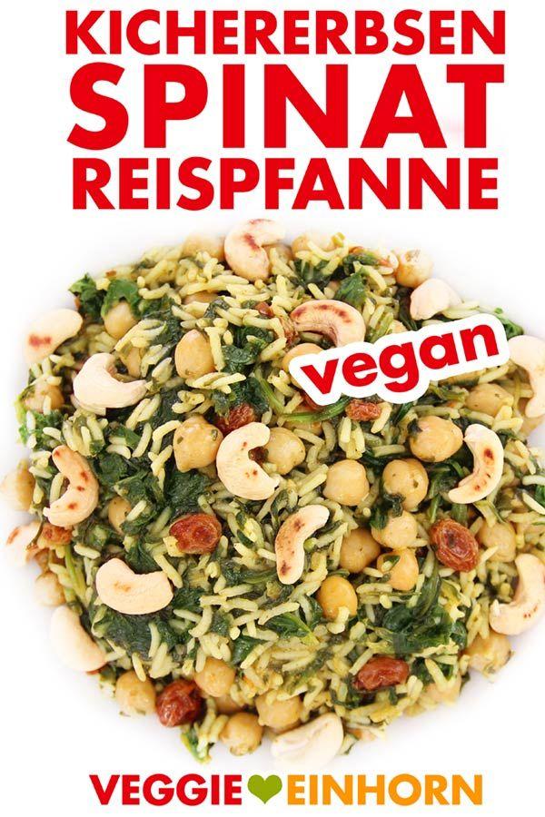 Vegane Kichererbsen-Spinat-Reispfanne #veganerezeptemittag