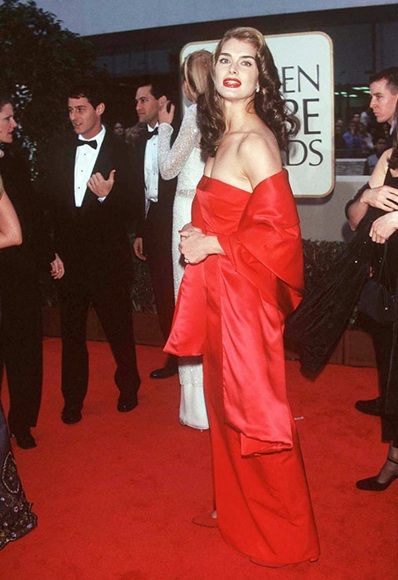 Brooke Shields at the Golden Globe Awards, 1998, wearing a red dress